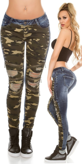 Sexy Skinny dark jeans with Camouflage & Zips Jeansblue