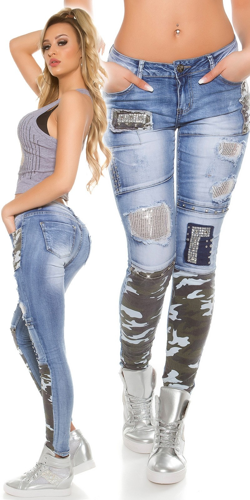 Sexy skinny jeans patched with rhinestones, rivets Jeansblue
