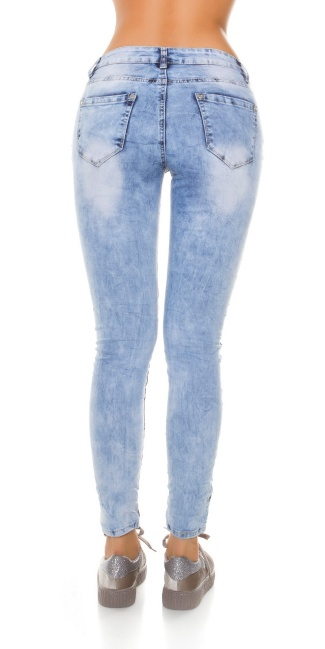 Sexy Skinny Camo Jeans with rhinestones & sequins Jeansblue
