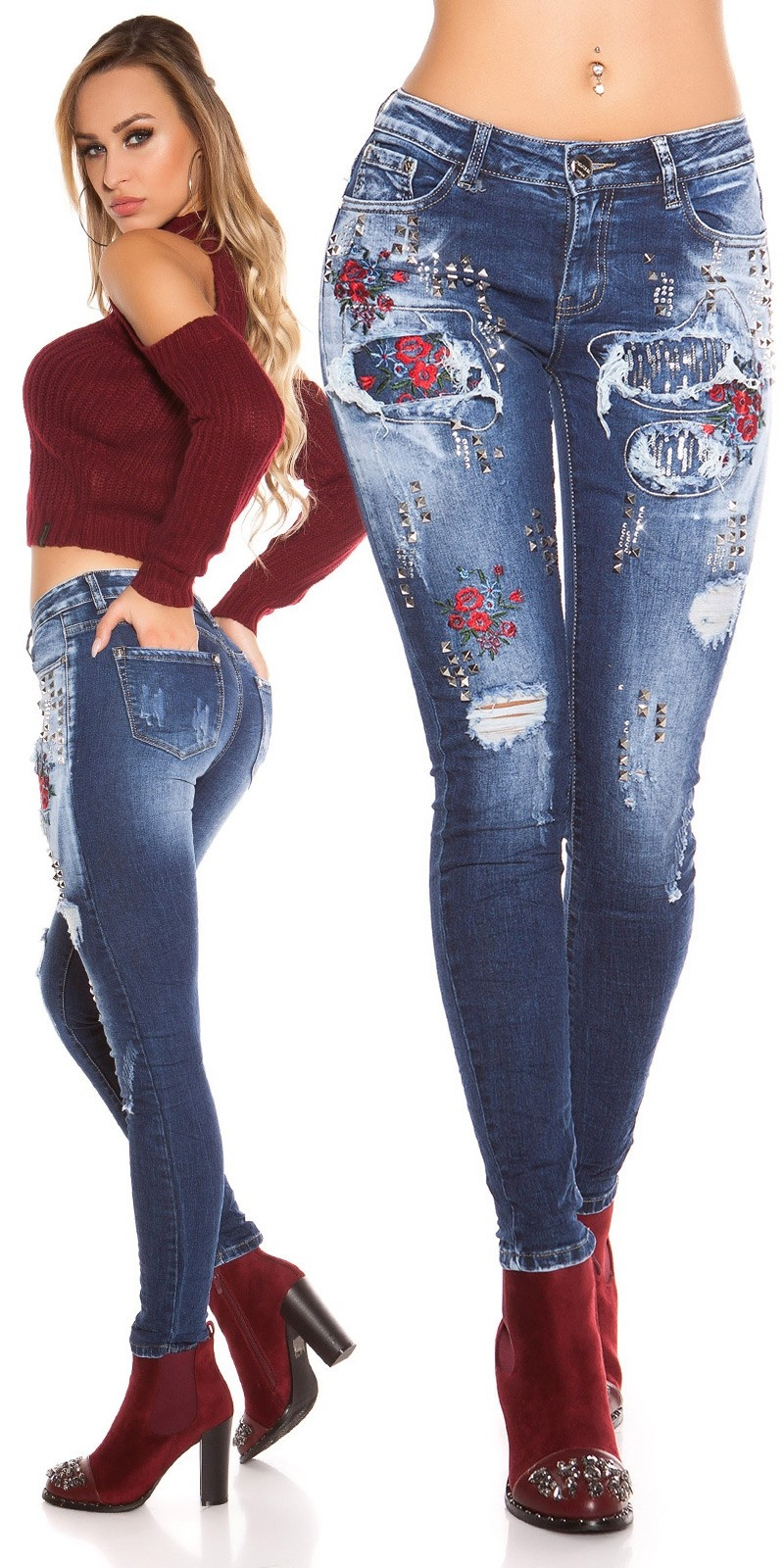 Sexy Skinny Jeans Used Look m. Rivets & Embroidery Jeansblue