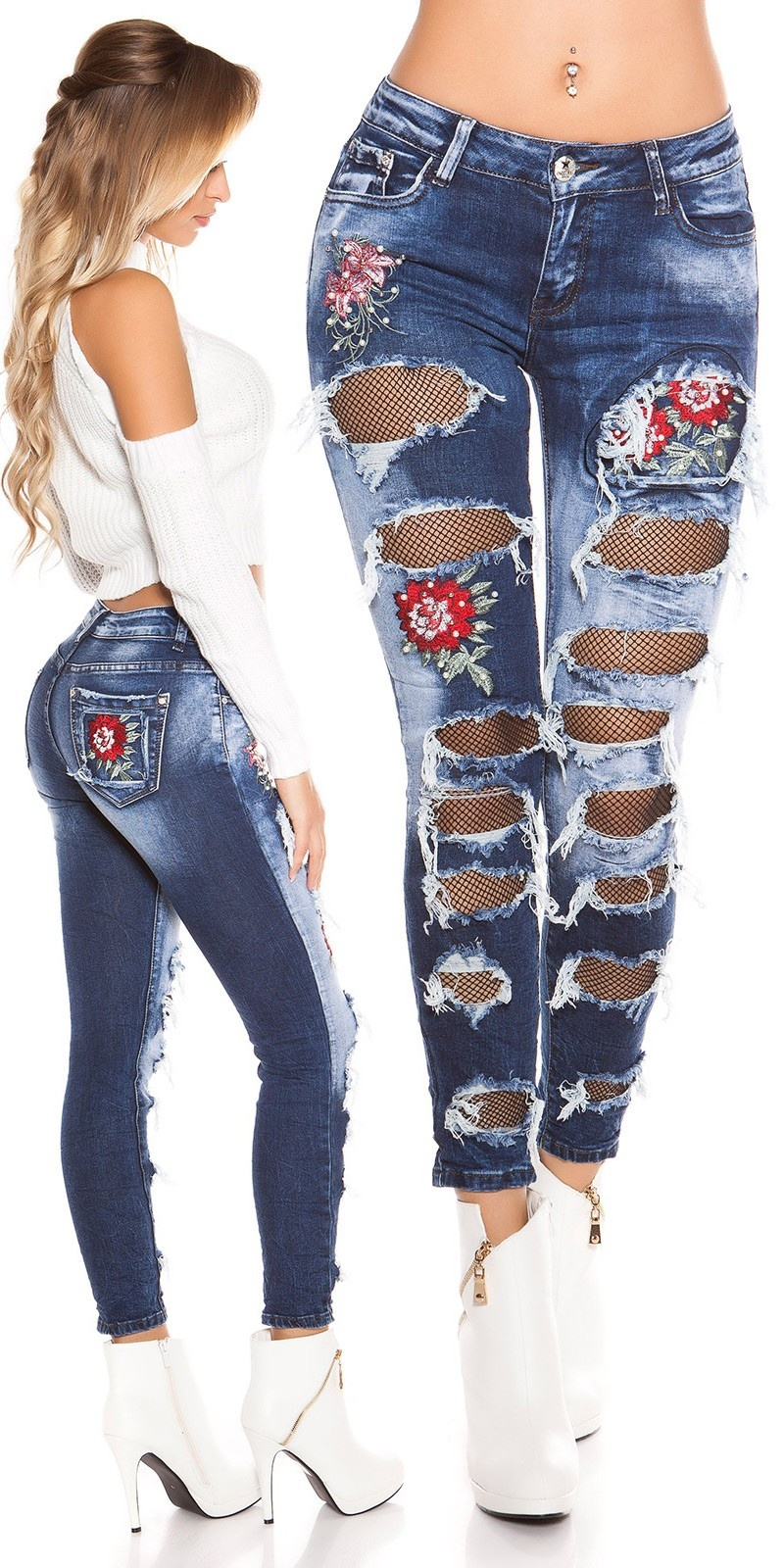 Sexy Skinny Jeans ExtrEme USed with embroidery Jeansblue