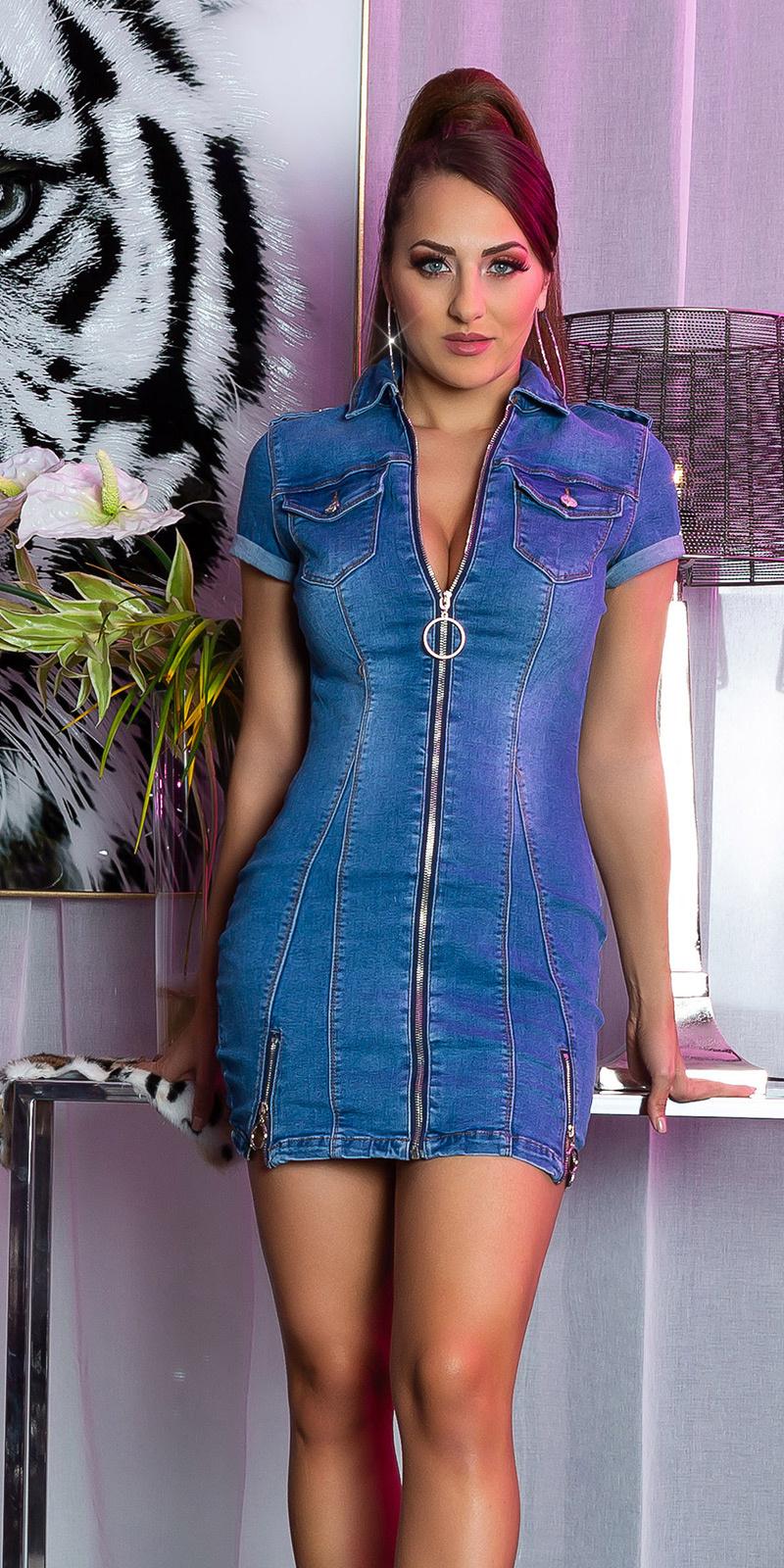 Sexy jeans mini jurkje met ritssluiting jeansblauw