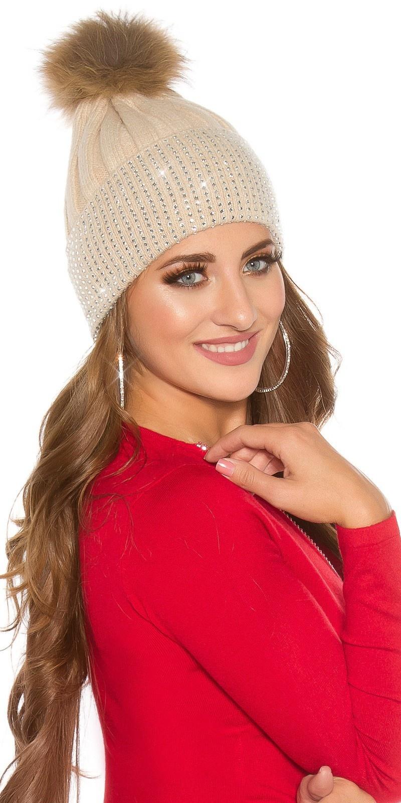 Trendy knit cap w. detachable PomPom&rhinestones Beige