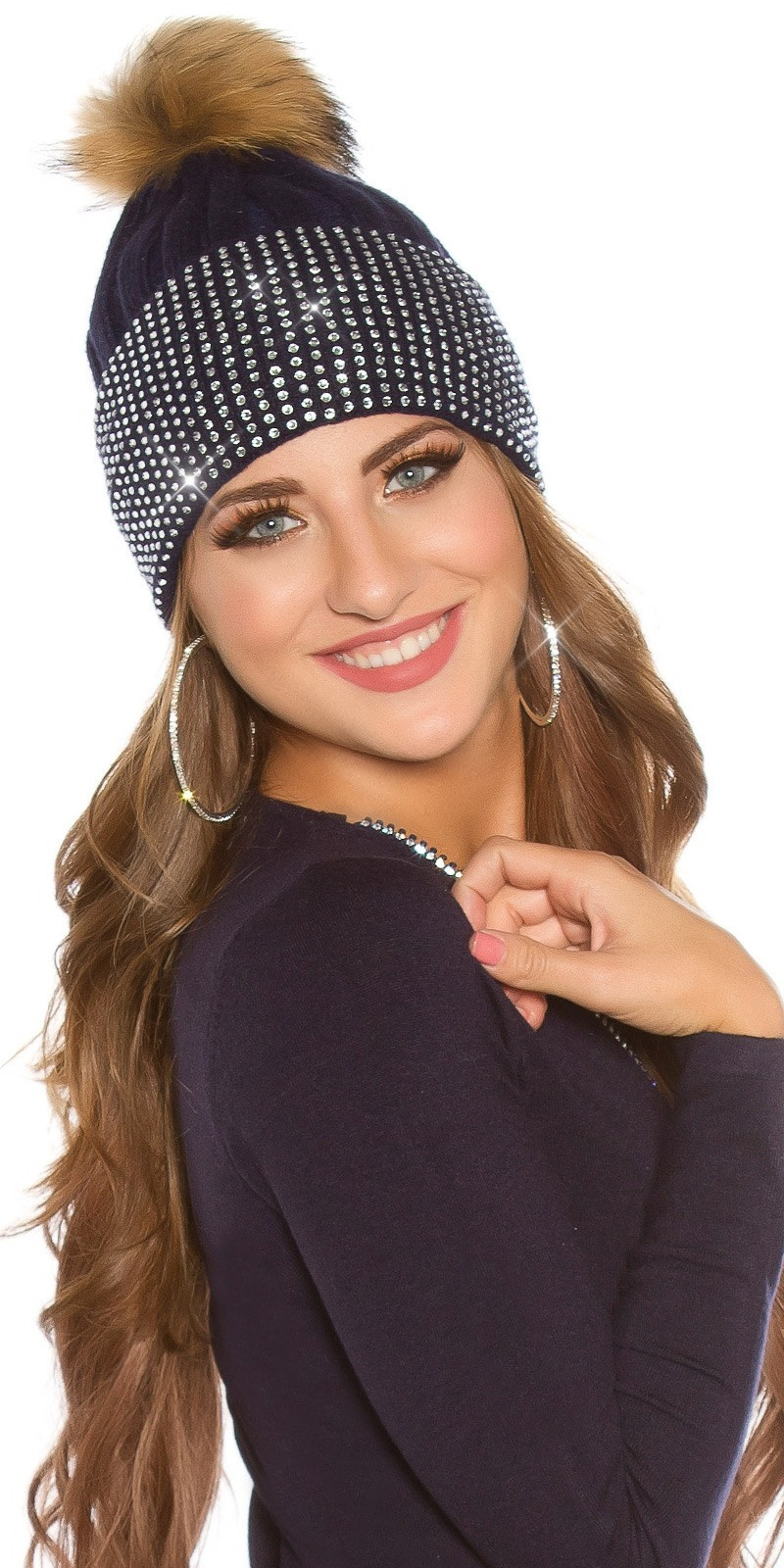 Trendy knit cap w. detachable PomPom&rhinestones Navy