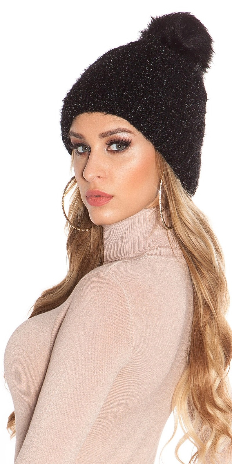 Trendy lined knitcap w. fake fur PomPom Black