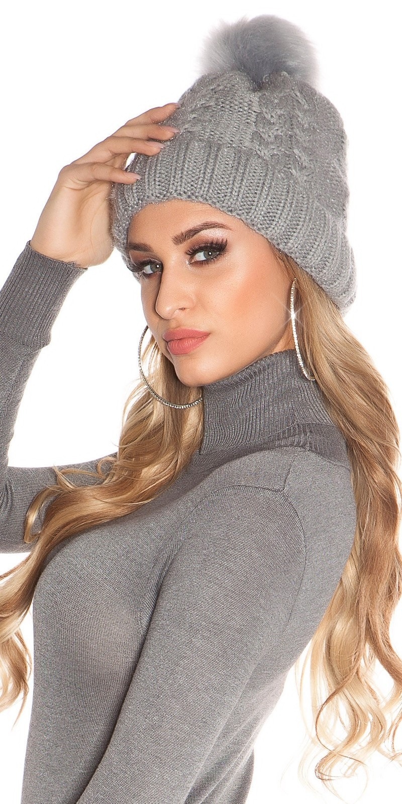Trendy lined knitcap w. fake fur PomPom Grey