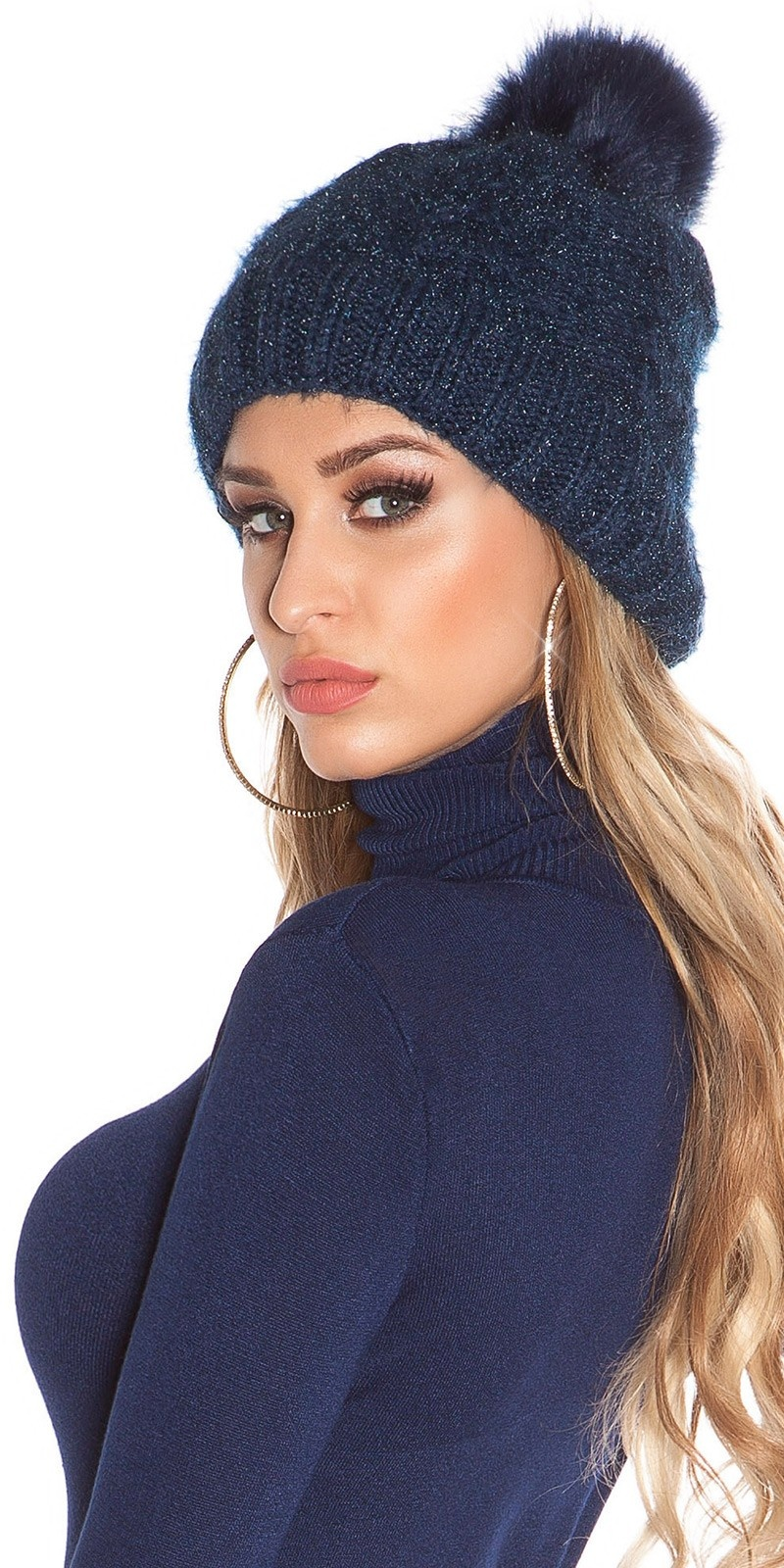 Trendy lined knitcap w. fake fur PomPom Navy