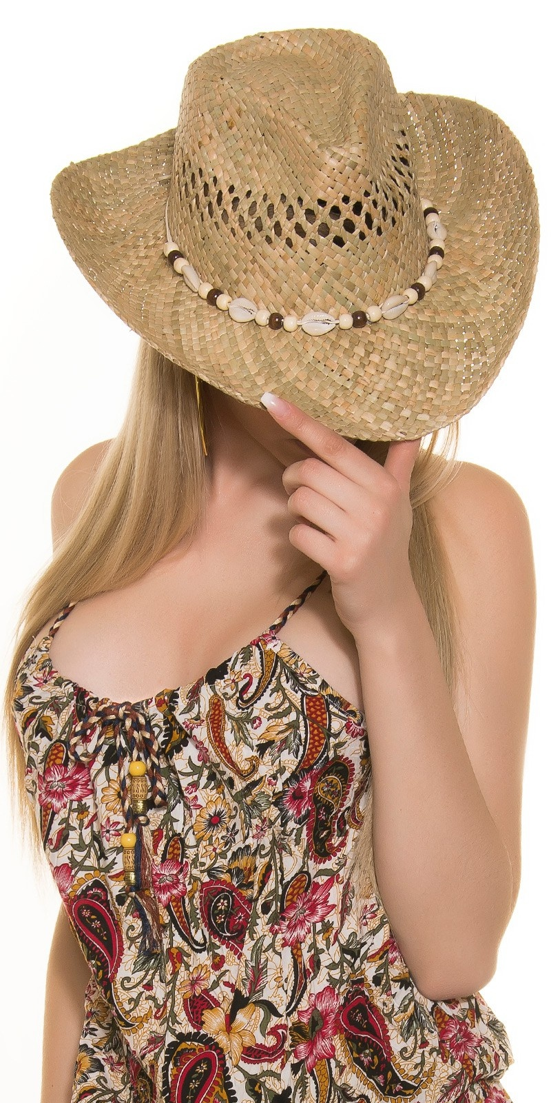 Trendy hoed met zeeschelpen beige
