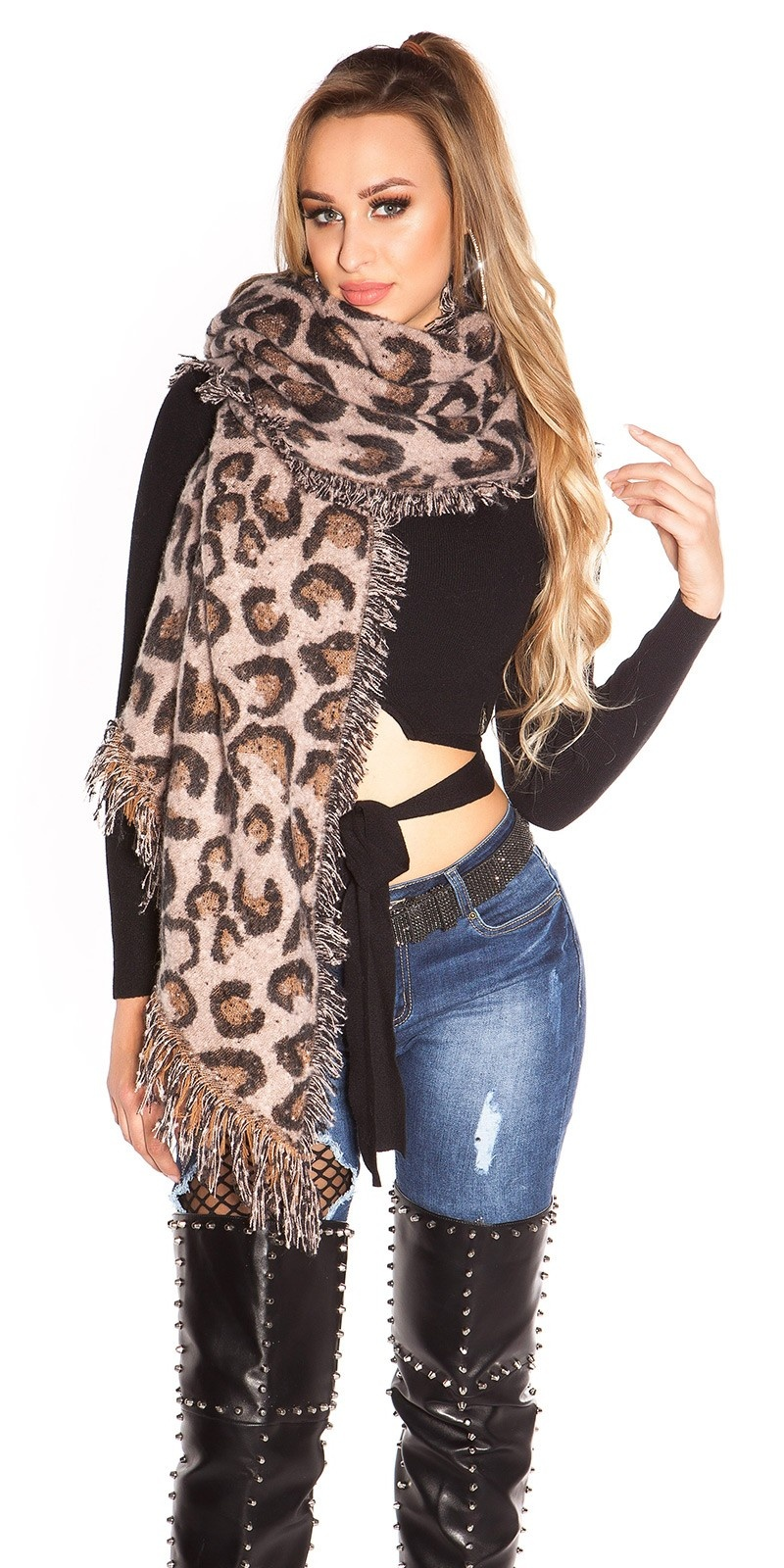 Trendy XL scarf in leo pattern Cappuccino