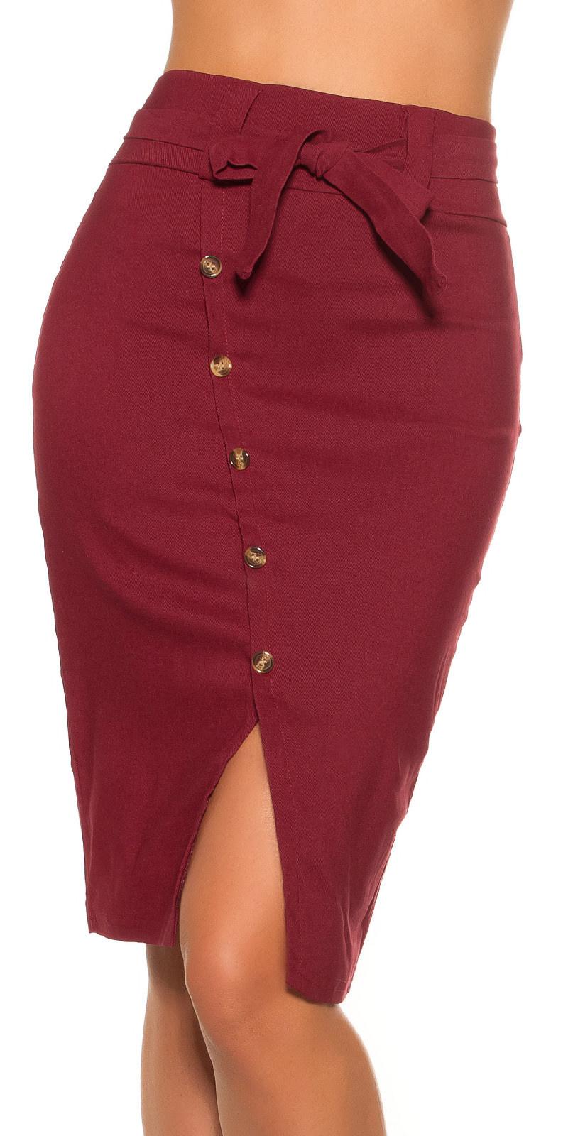 Sexy pencil-koker-hoge taille rok met riem bordeaux
