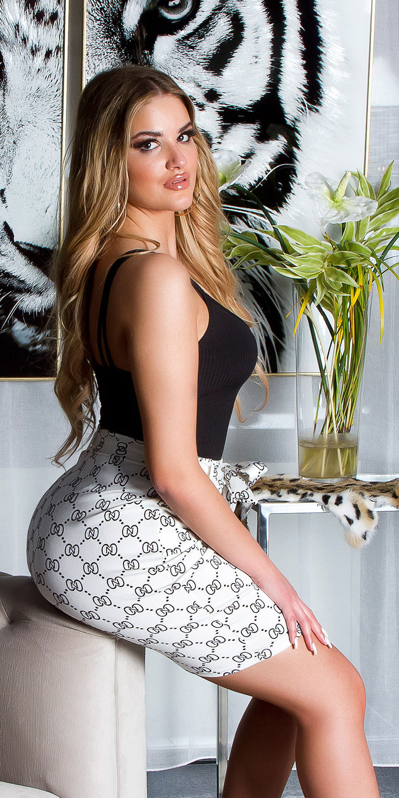 Sexy hoge taille rok met print wit