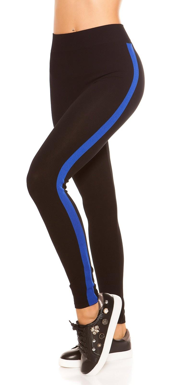 Trendy leggings met contrast strepen blauw