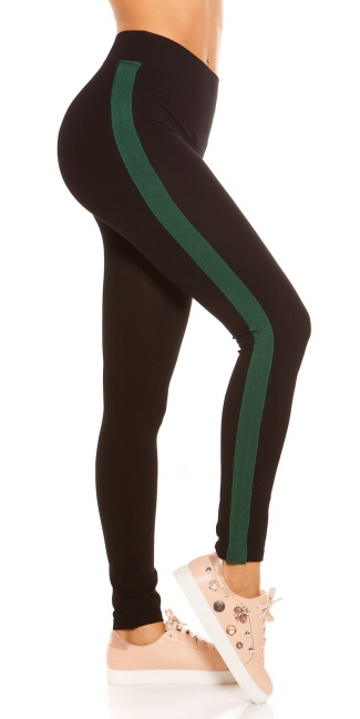 Trendy leggings with contrast stripes Green