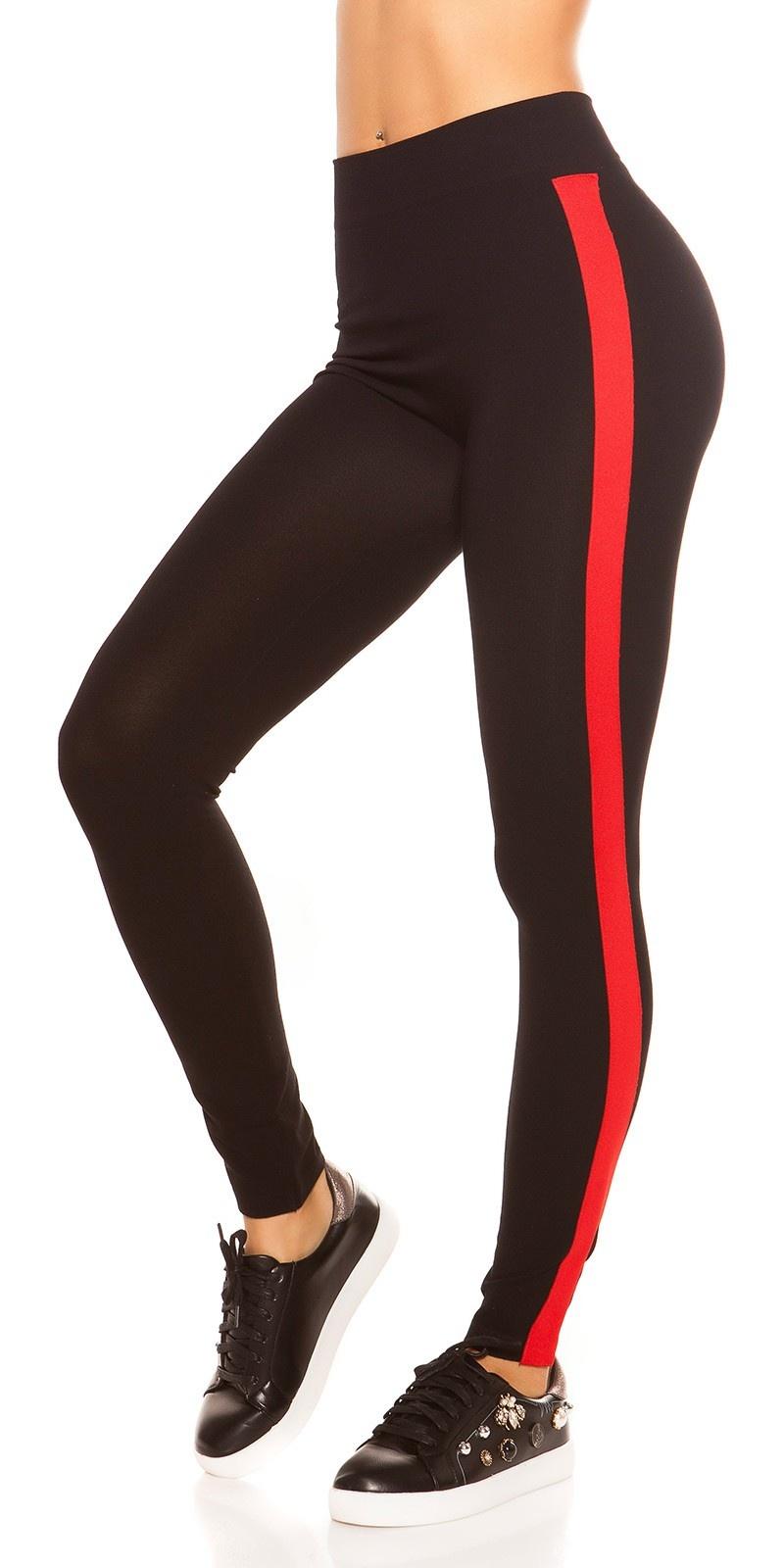 Trendy leggings met contrast strepen rood