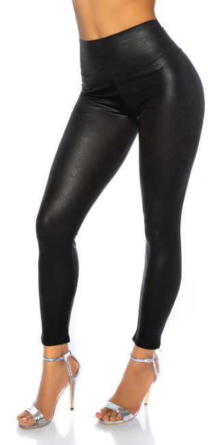 Sexy Lederlook Leggins Black