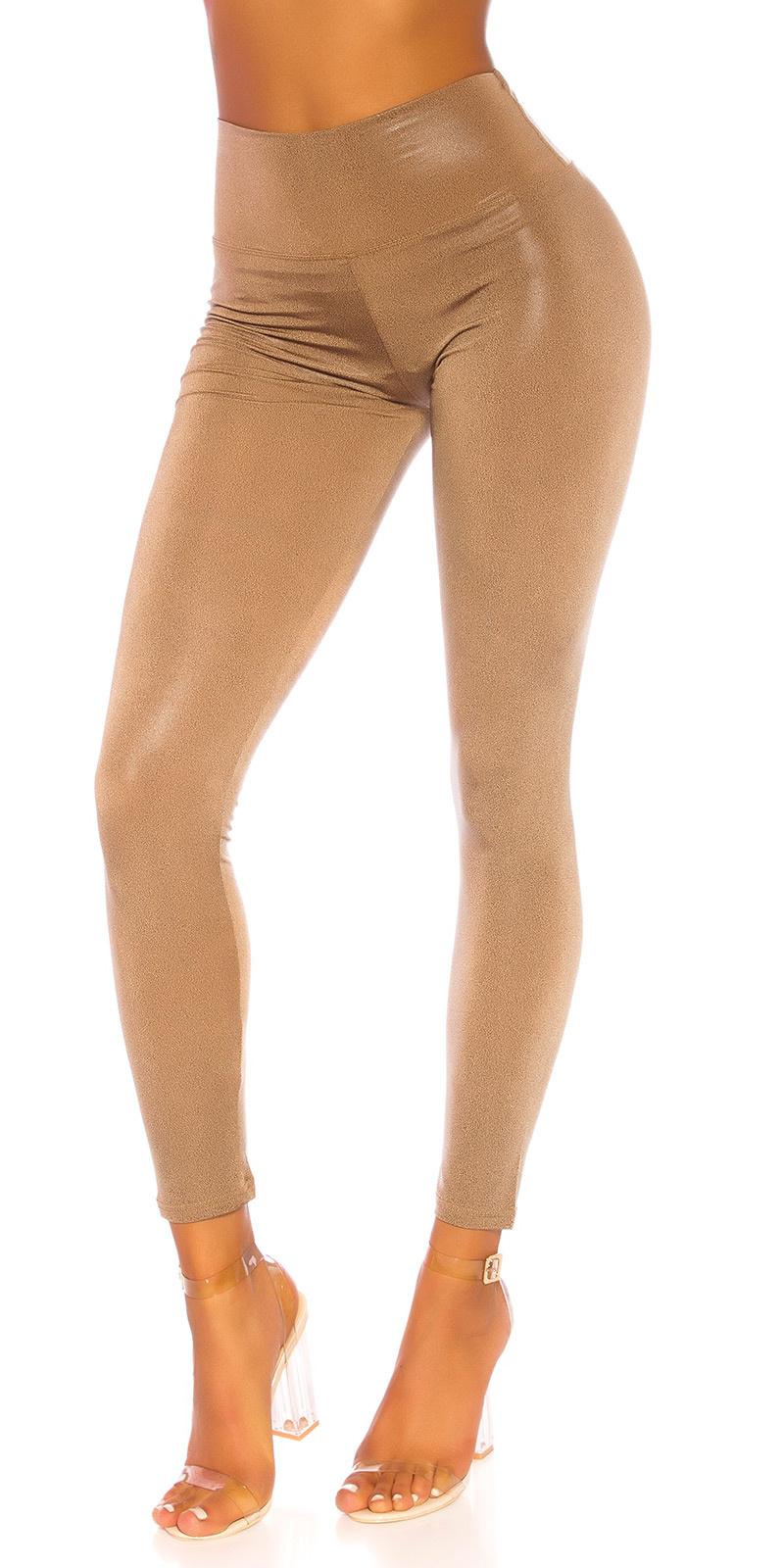 Sexy shiny leggings bruin