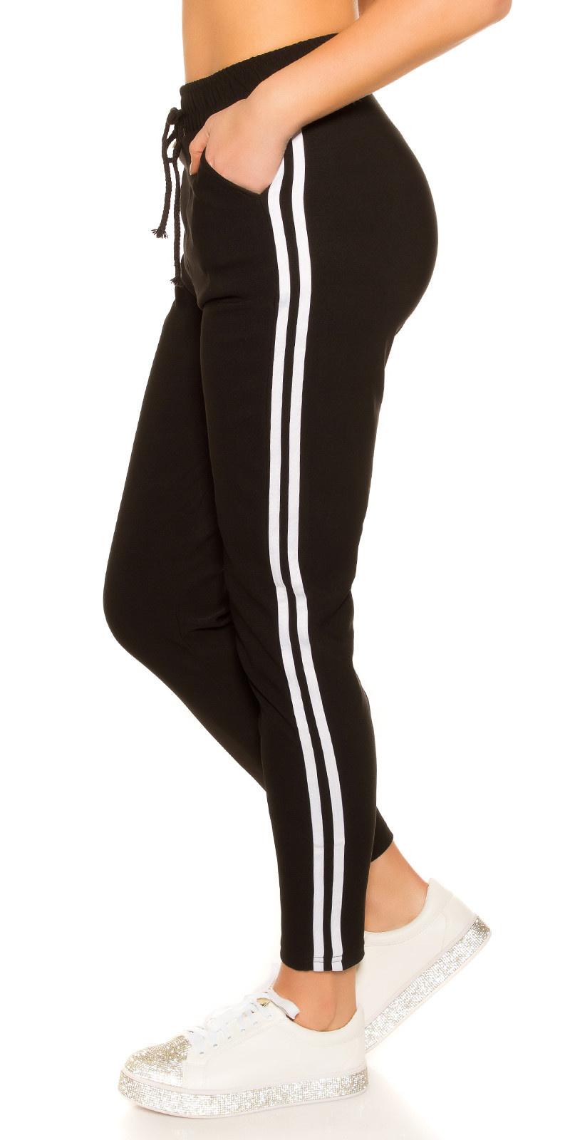 Trendy joggingbroek met contrast strepen zwart