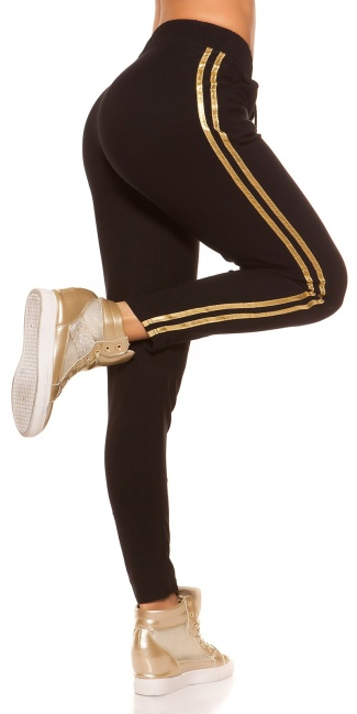 Trendy joggers with contrast stripes Gold