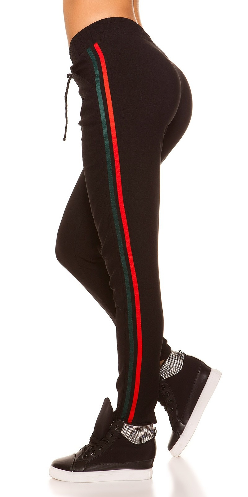 Trendy joggers with contrast stripes Redgreen