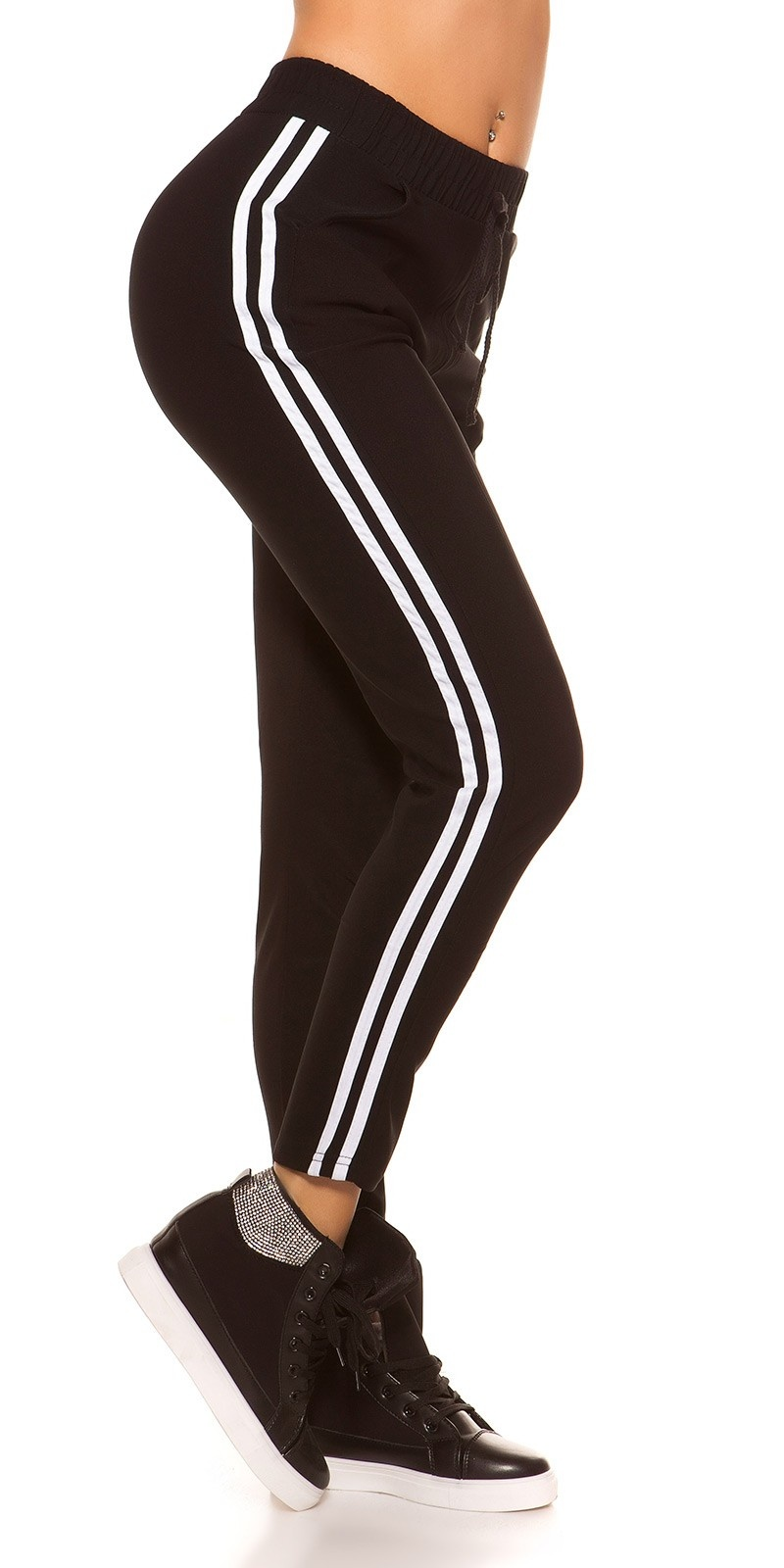 Trendy joggers with contrast stripes White