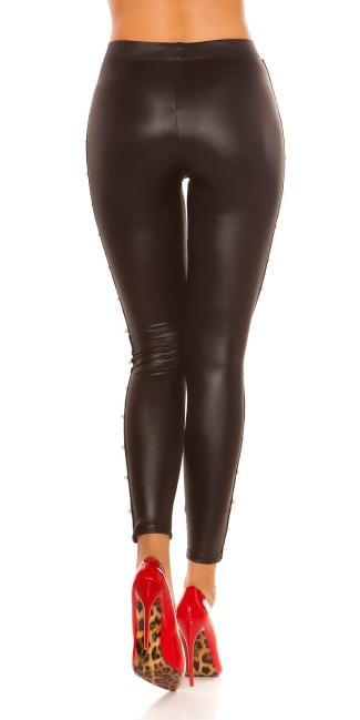 Sexy Wetlook-Leggings w. studs& decorative beads Black