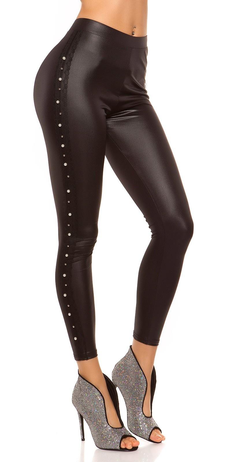 Sexy wetlook-leggings met sierkralen & kant zwart
