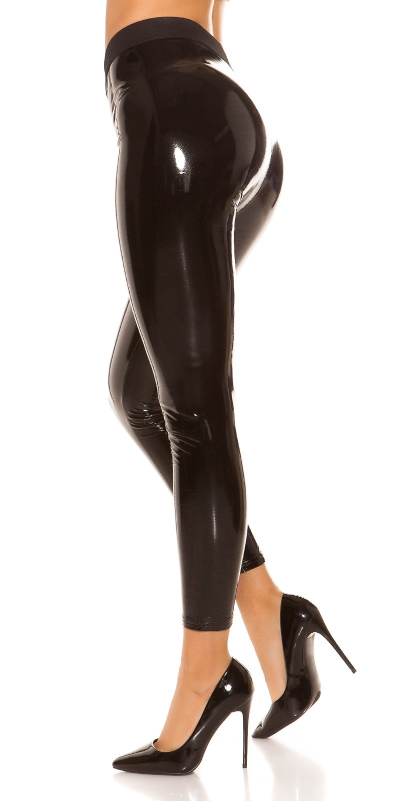 Sexy Wetlook Leggings lined Black
