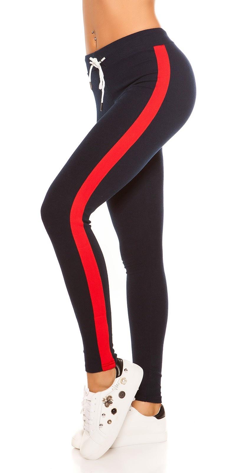 Trendy joggingbroek met contrast strepen, marineblauw rood
