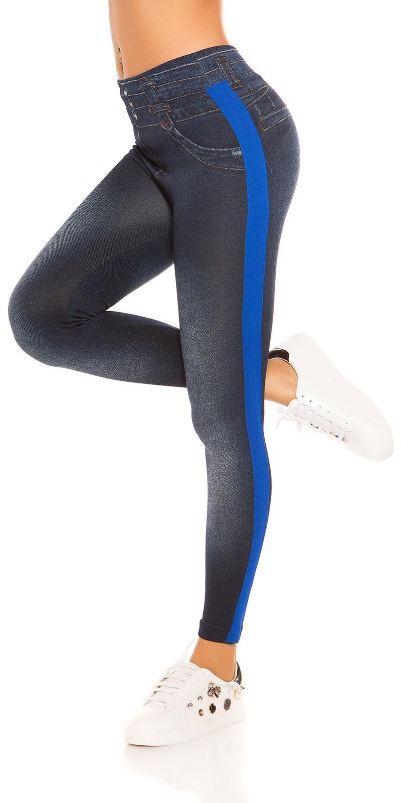 Trendy thermo jeanslook leggings met strepen blauw