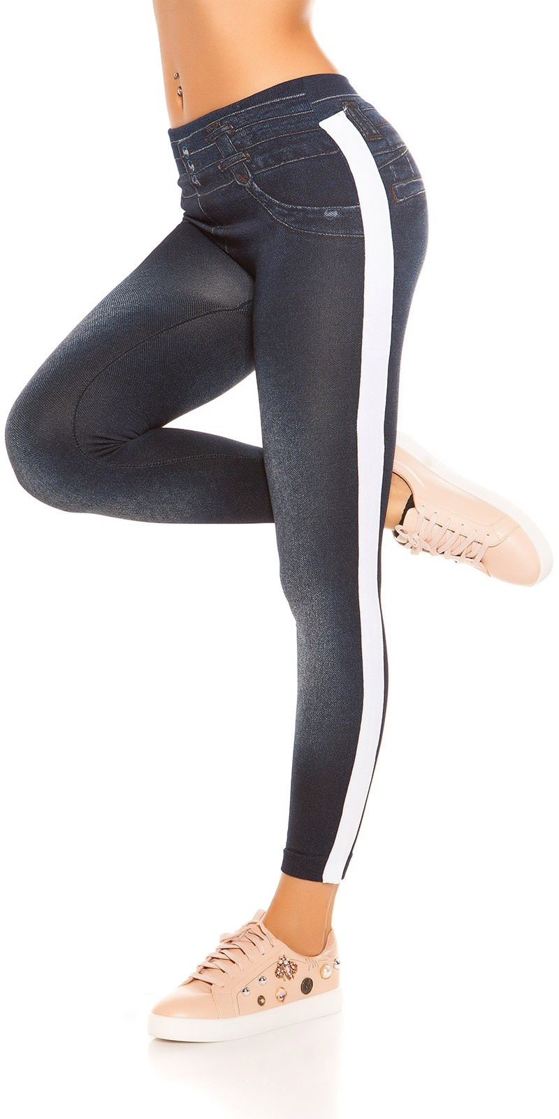 Trendy Thermo Jeanslook leggings with stripes White
