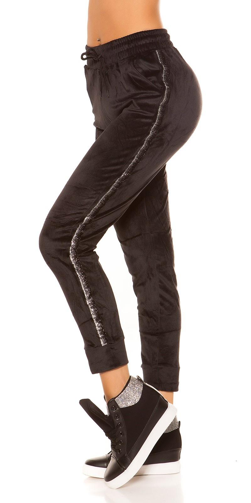 Trendy nicki workout-sport broek met glitter afwerking zwart