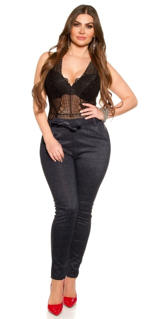 CurvyGirlsSize! Sexy businesslook pants with belt Blue