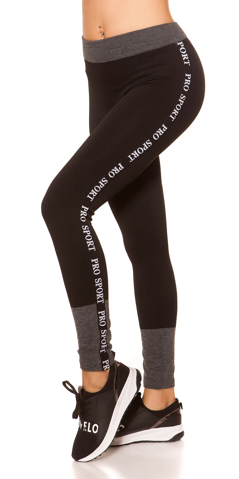 Trendy thermo workout-sport leggings pro sport zwartgrijs