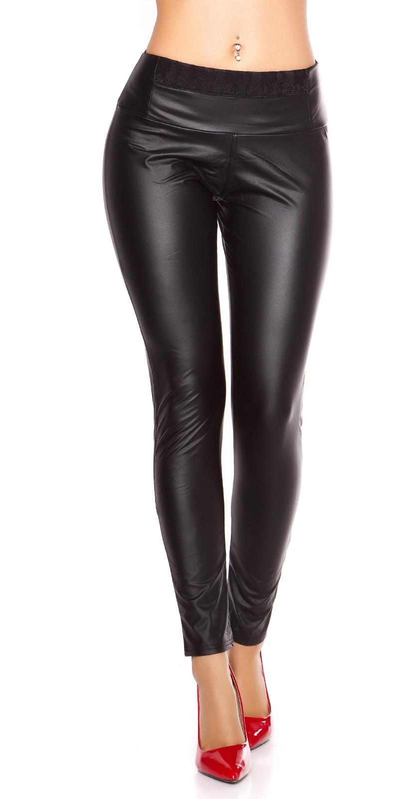 Sexy wetlook leggings met kant zwart