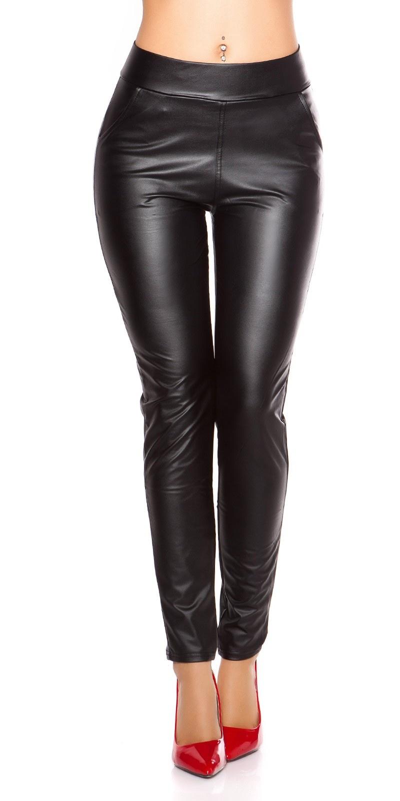 Sexy wetlook leggings met zakken zwart