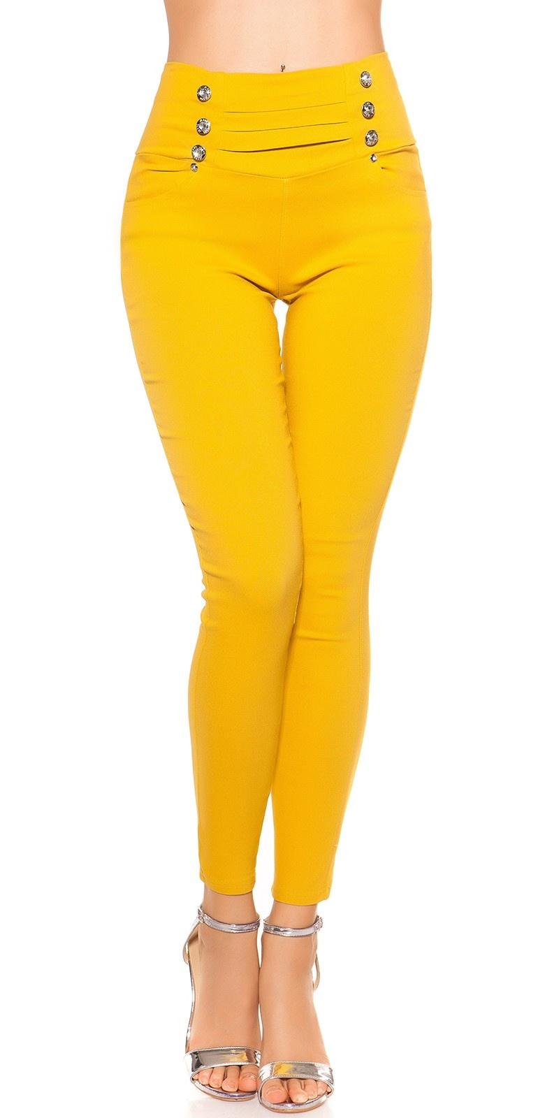 Sexy hoge taille treggins met knopen mosterdgeel