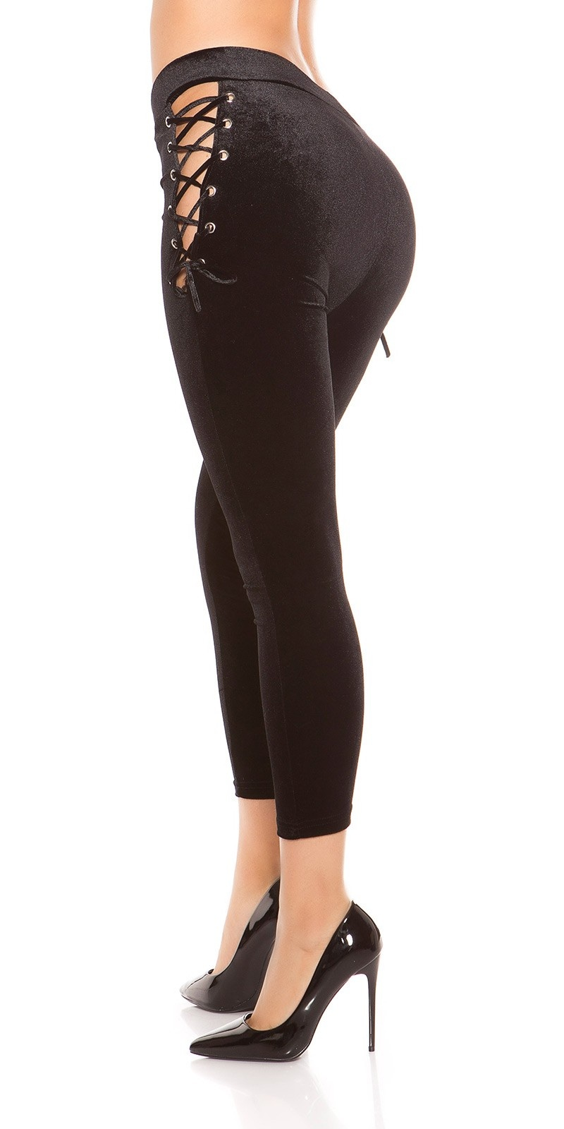 Sexy velvet look leggings with lacing Black