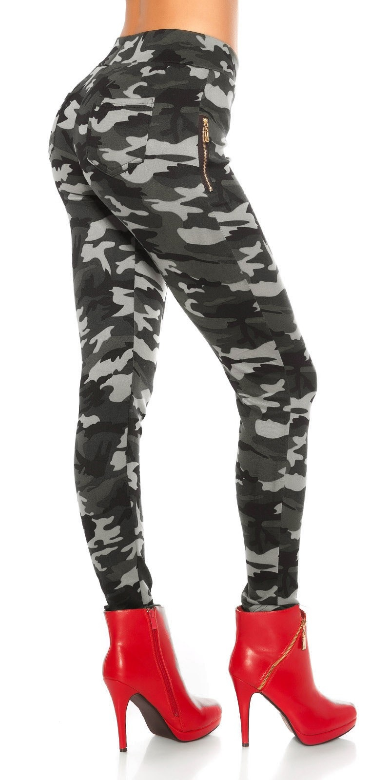 Sexy Leggings in Camouflage lined Grey