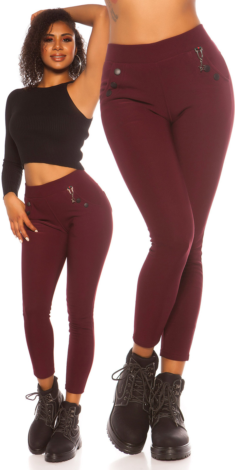 Trendy hoge taille thermo treggins bordeaux