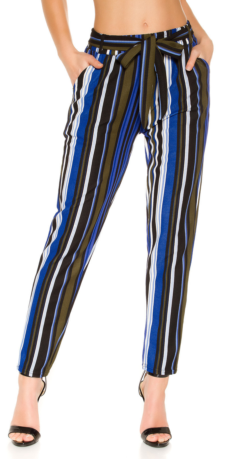 Trendy Boucl� cloth pants with belt Blue
