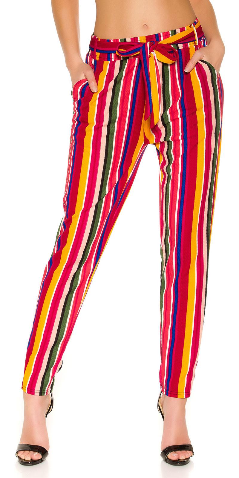 Trendy stoffen broek met riem mosterdgeel