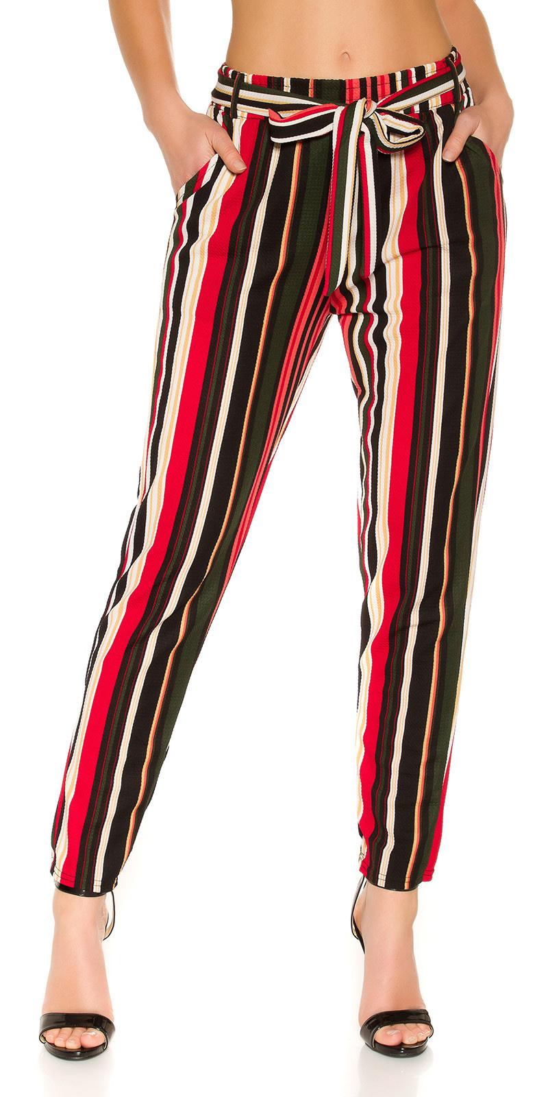 Trendy stoffen broek met riem rood