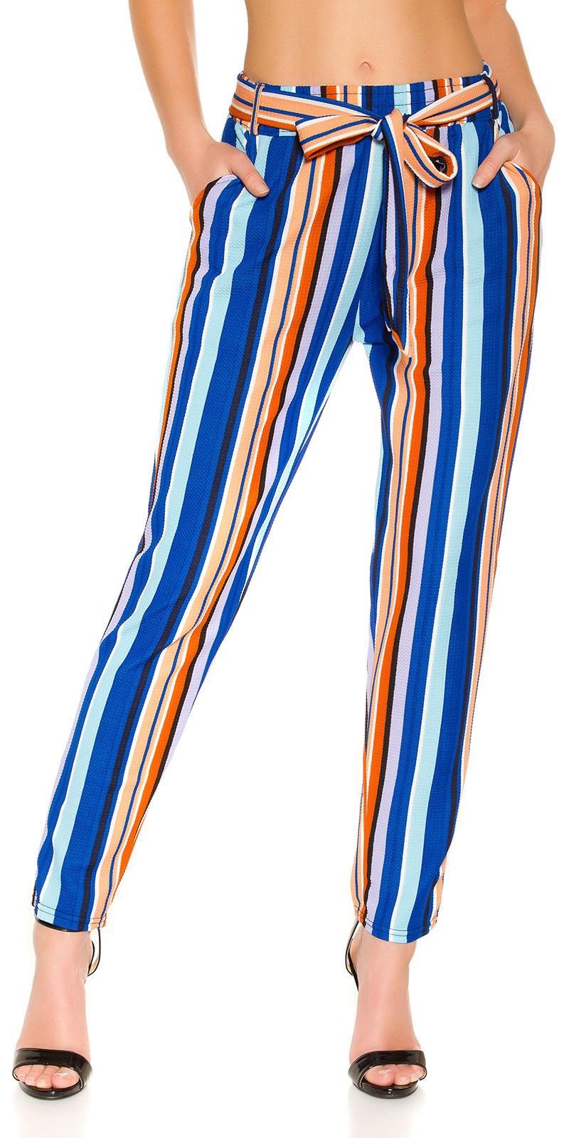 Trendy stoffen broek met riem turkoois-kleurig