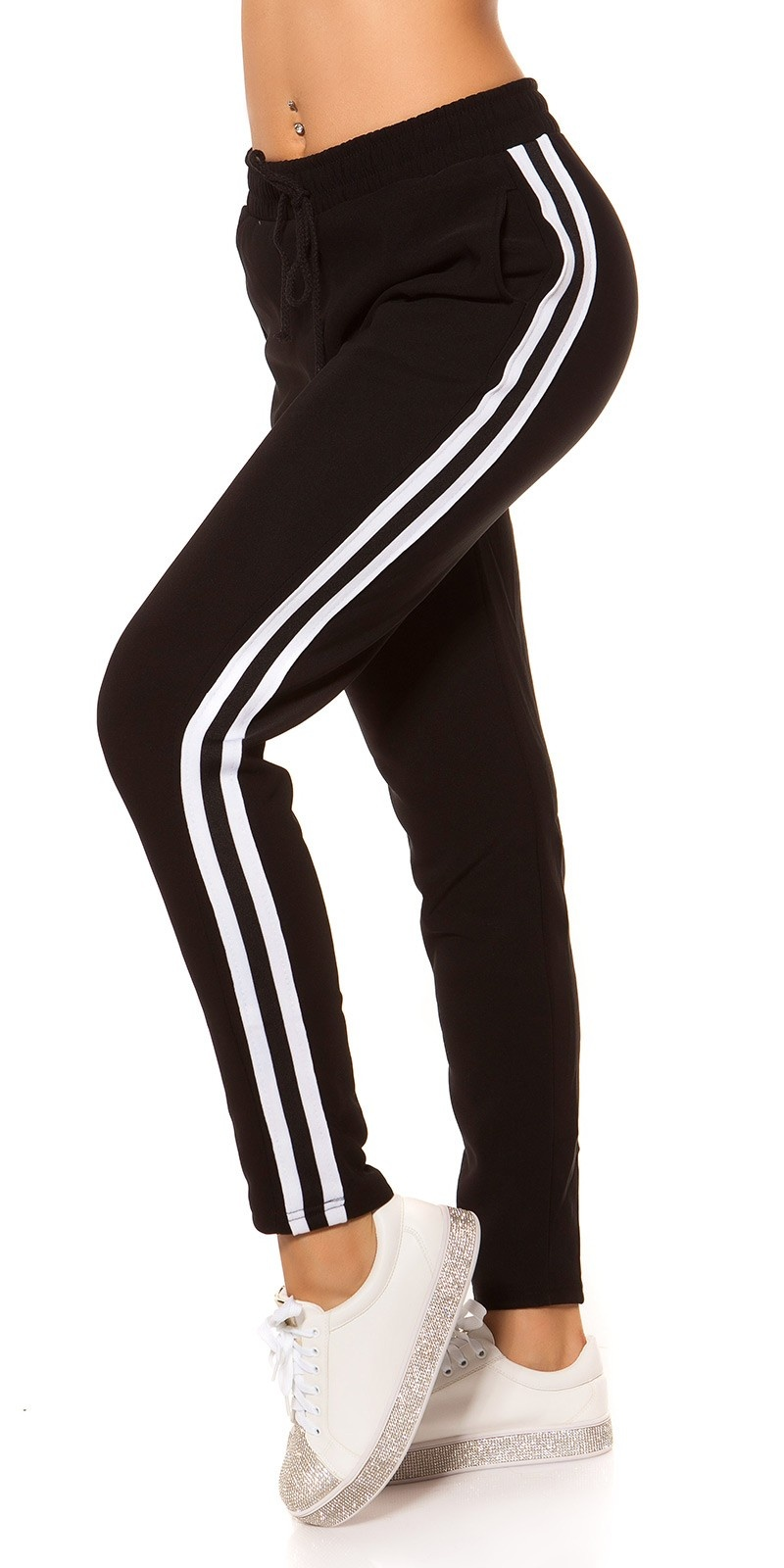 Trendy thermal joggers with contrast stripes Whiteblack