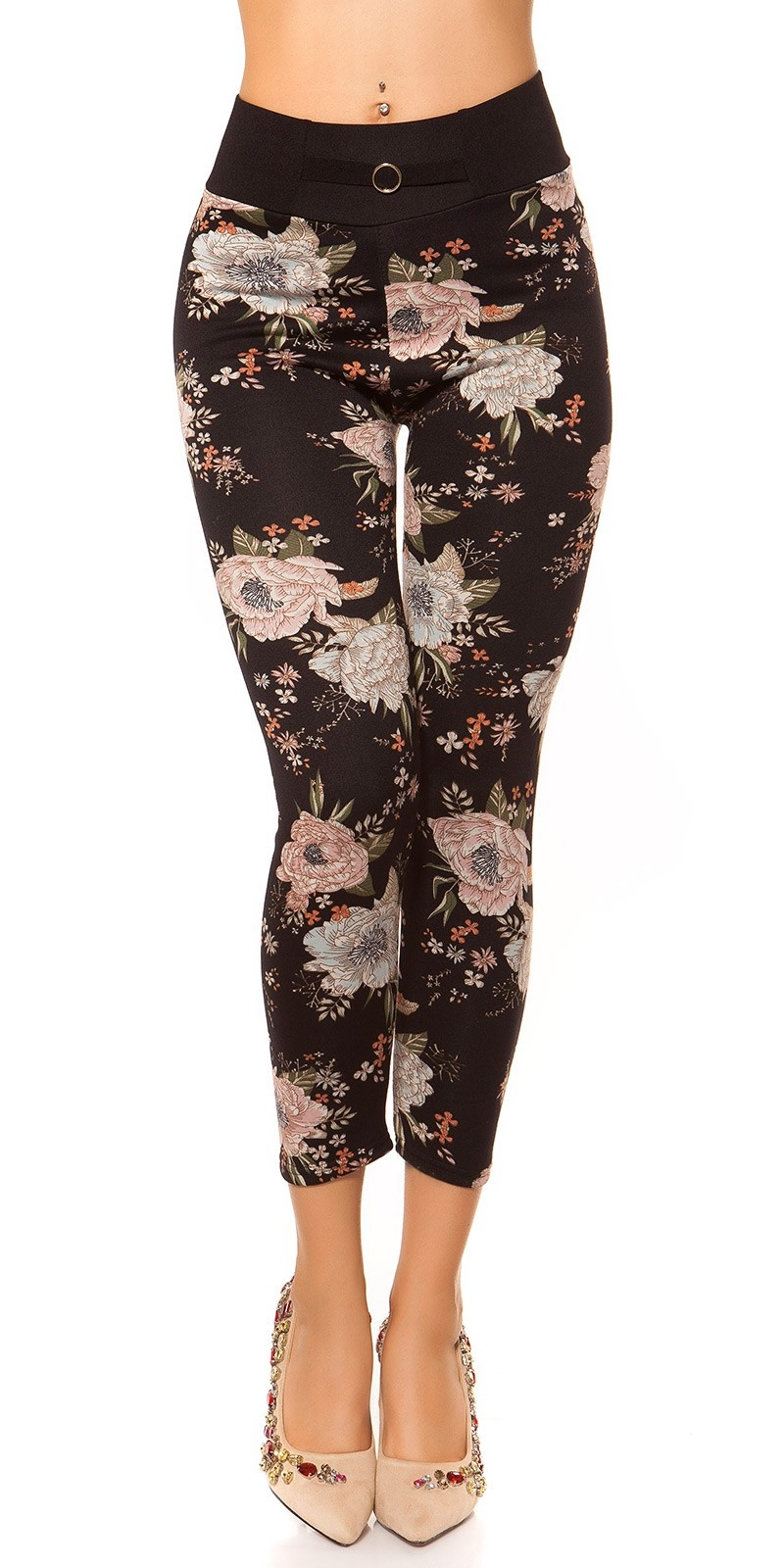 Trendy Thermo leggings with flower print Black