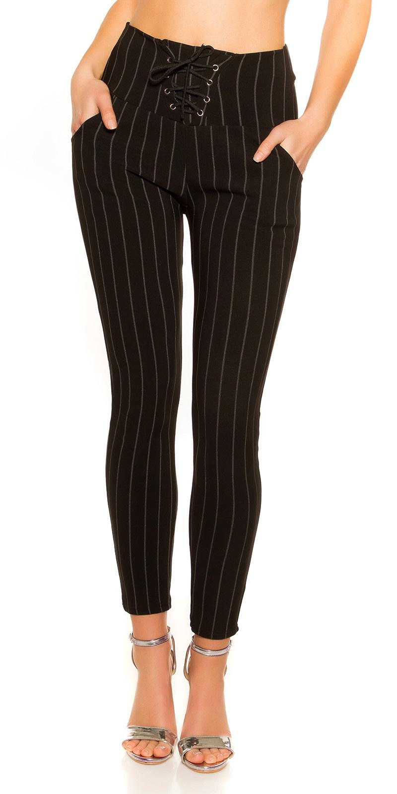 Trendy krijtstreep leggings met veter zwart