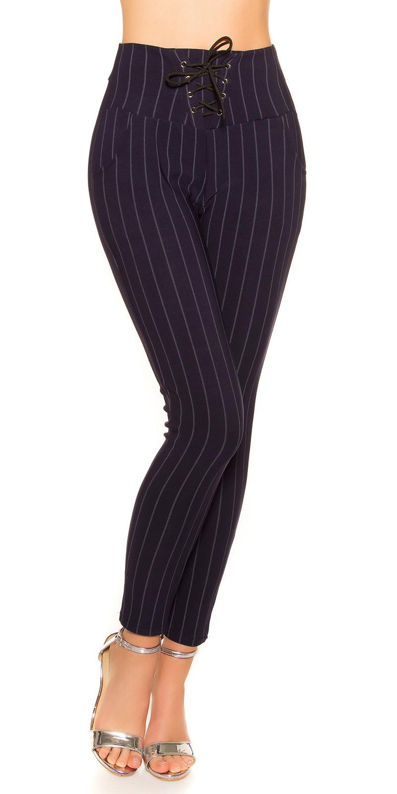 Trendy krijtstreep leggings met veter marineblauw