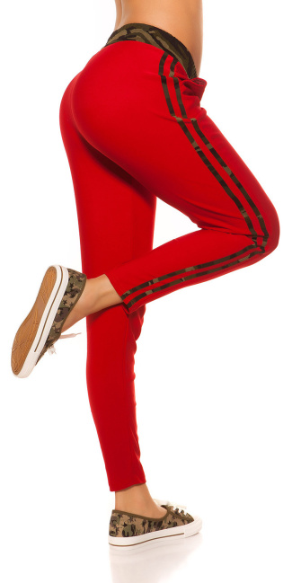 Trendy joggers with camouflage stripes Red