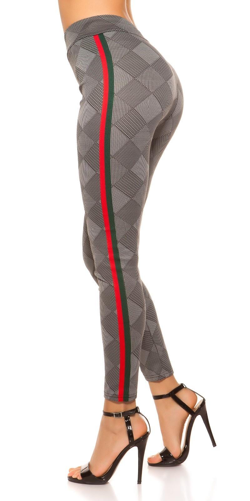 Sexy leggings geruit met contrast strepen roodgroen