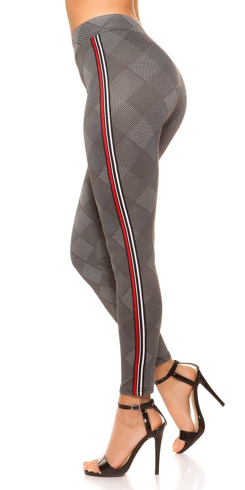 Sexy leggings geruit met contrast strepen witroodzwart